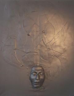 Peinture Mixte sur toile et moulage 92*73*2 Pièce unique